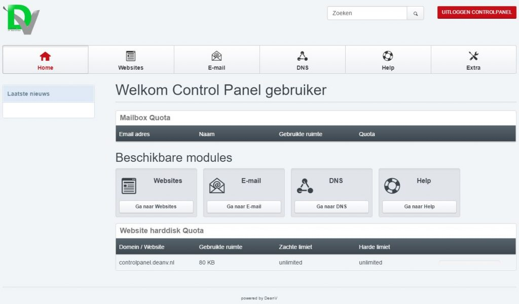 Control Panel -DeanV IT Services